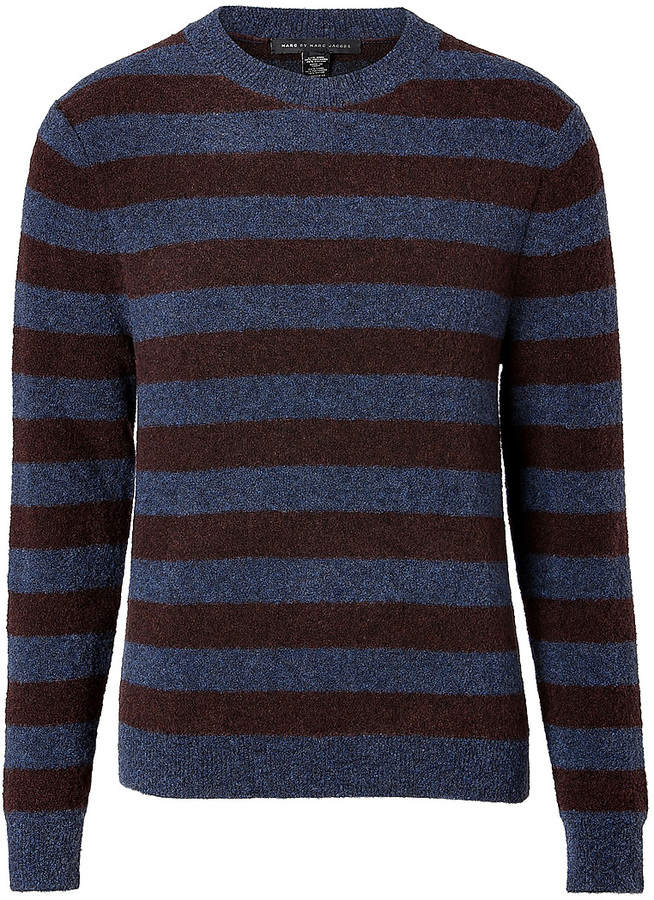 Marc by Marc Jacobs Wool-Cotton Striped Pullover in Sailor Navy Melange Multi