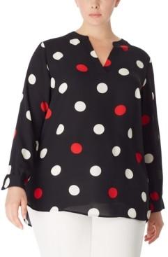Anne Klein Plus Size Dot-Print Split-Neck Blouse