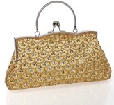 BMC Womens Elegant Scale Pattern Tiny Bead Encrusted Clutch Evening Bag