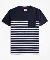 Brooks Brothers Striped Slub Cotton Jersey Pocket T-Shirt