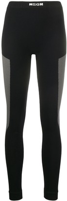 MSGM High-Rise Colour-Block Leggings