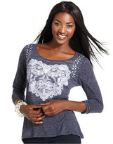Style&Co. Top, Three-Quarter-Sleeve Embellished Back-Cutout