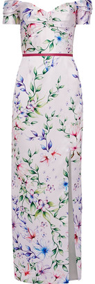 Marchesa Off-the-shoulder Floral-print Satin-pique Gown