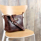 The Leather Store Leather Twist Lock Cross Body Messenger Handbag