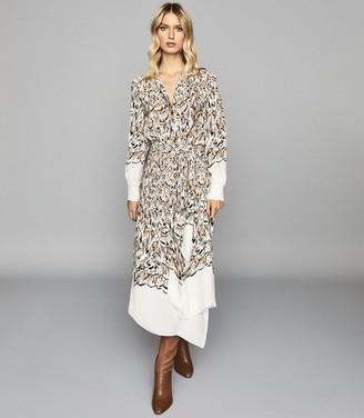 Reiss MIA FEATHER PRINTED MIDI DRESS White