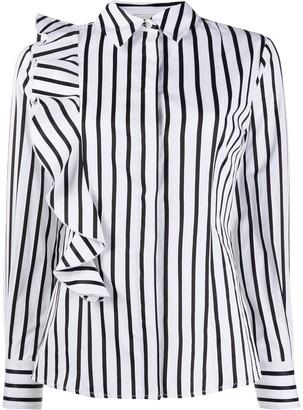 MSGM Striped Ruffle-Trimmed Shirt