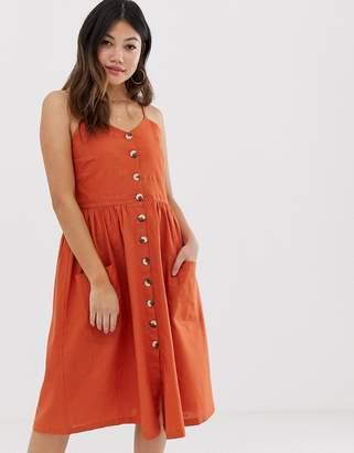Brave Soul leah button through midi dress-Red