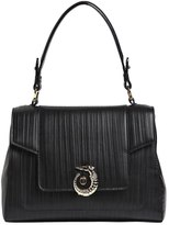 Trussardi Lovy Embossed Leather Top Handle Bag