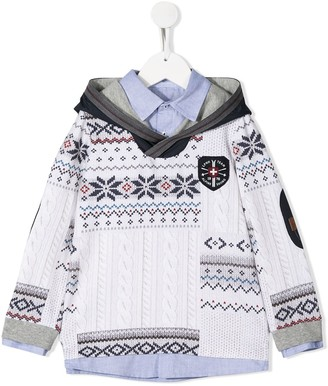 Lapin House Cable-Knit Print Hoodie