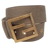 Fendi 100% Authentic Beige Zucca Canvas Large FF Buckle Belt