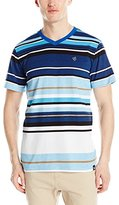 Southpole Men's Stripe V-Neck T-Shirt with Pin Engineered Irregular Stripes
