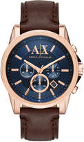 Armani Exchange A|X Men's Chronograph Dark Brown Leather Strap Watch 45mm AX2508