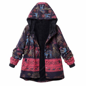 KaloryWee Women Winter Warm Outwear Hooded Floral Print Pocket Vintage Oversize Coat 3XL Blue