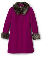 Lands' End Girls Wool Coat-Rich Red Dot