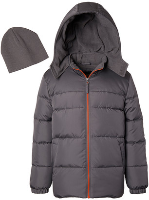 iXtreme Boys' Puffer Coats CHARCOAL - Charcoal Puffer Jacket - Toddler