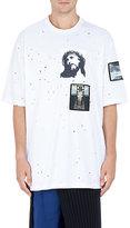 Givenchy Men's Appliquéd Destroyed Columbian T-Shirt-WHITE