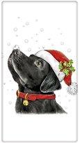 """Retro Santa Black Labrador Retriever Dog 100% Cotton Flour Sack Dish Tea Towel - Mary Lake Thompson 30"""" x 30"""""""