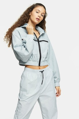 Topshop Womens Blue Shell Cropped Jacket - Blue