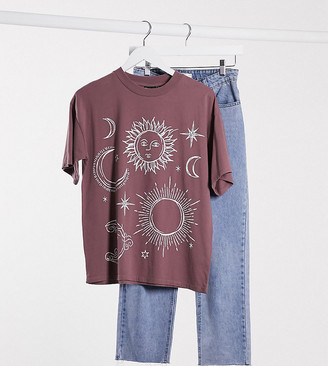 Asos DESIGN Petite t-shirt with sketchy solstice print in washed pink