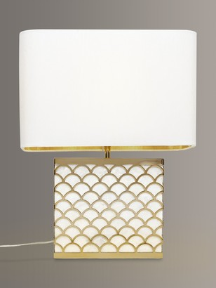 John Lewis & Partners Delores Capiz Shell Table Lamp, Satin Brass