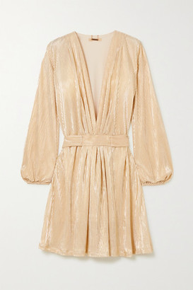 Melissa Odabash Banks Belted Lame Mini Dress - Gold