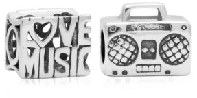 Rhona Sutton 4 Kids Children's Love Music Bead Charms - Set of 2 in Sterling Silver