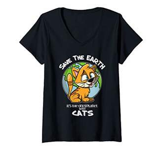 Womens Save the Earth It's the Only Planet With Cats Cute Cat V-Neck T-Shirt