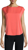 Halston Cap-Sleeve Draped-Back Top, Melon