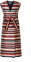Tome Satin Striped Sleeveless Trenchcoat