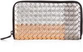 Bottega Veneta Intrecciato metallic-leather zip-around wallet