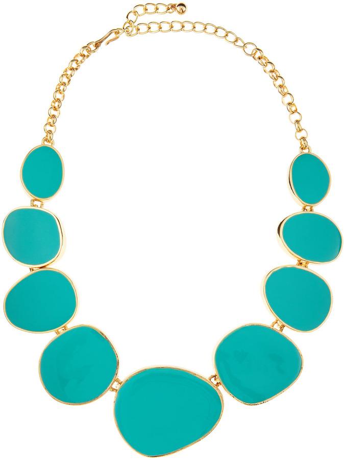 Kenneth Jay Lane Turquoise Enamel Bib Necklace