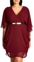 City Chic Belted Chiffon Faux Wrap Dress (Plus Size)