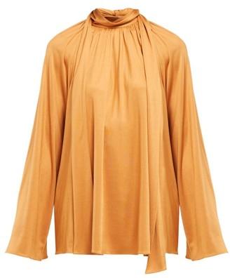 The Row Merrian Fluted-sleeve Blouse - Womens - Tan