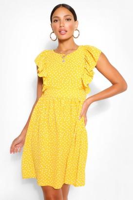 boohoo Tall Woven Polka Dot Print Smock Dress