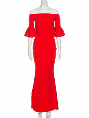 Chiara Boni Off-The-Shoulder Long Dress Red