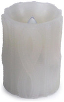 """Melrose 4"""" White Cable Knit Battery Operated Flameless LED Wax Christmas Pilla"""