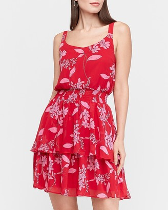 Express Floral Tiered Ruffle Fit And Flare Dress