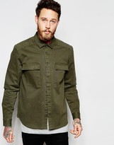 Asos Military Overshirt With Long Sleeves In Khaki