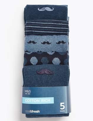 Marks and Spencer 5 Pack Cool & Fresh Moustache Socks