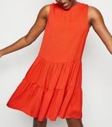New Look Herringbone Sleeveless Smock Dress
