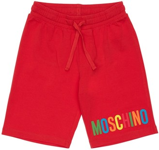Moschino Rubber Logo Cotton Sweat Shorts