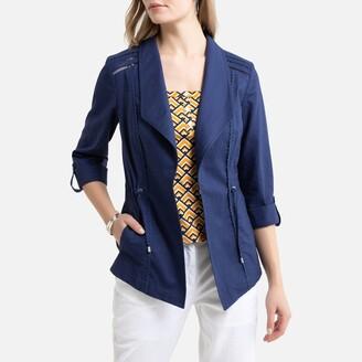 Anne Weyburn Linen Mix Asymmetric Jacket