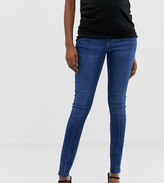 Asos DESIGN Maternity Ridley high waisted skinny jeans in dark stone wash blue with raw hem detail with under the bump w