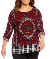 Multiples Plus Roll-Tab Sleeve Back Placement Print Top