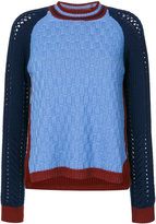 Etro bicolour college jumper - women - Viscose/Cashmere/Wool - 40