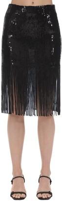 L'Autre Chose High Waist Sequins Skirt W/ Fringes