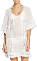 Sofia by Vix Solid White Crochet Caftan Swim Cover Up