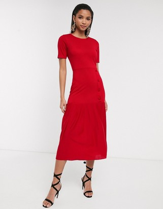 Asos DESIGN dropped waist midi dress with pleated hem in red
