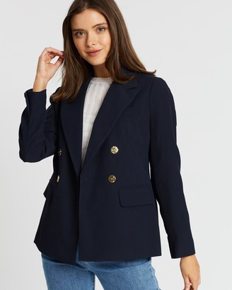 Dp Petite Double-Breasted Gold Button Blazer