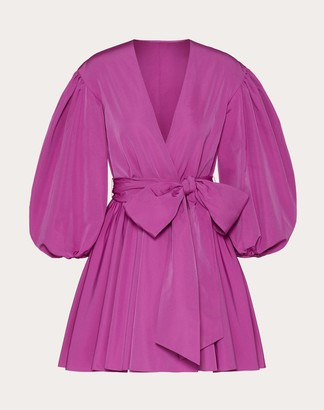 Valentino Micro-faille Wrap Dress Women Creamy Berry Cotton 54%, Polyester 46% 38